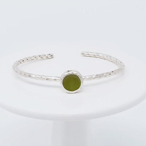 Ice Resin Olive Green Cuff Bracelet