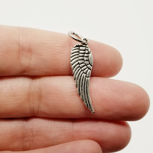 Single Angel Wing Silver Charm