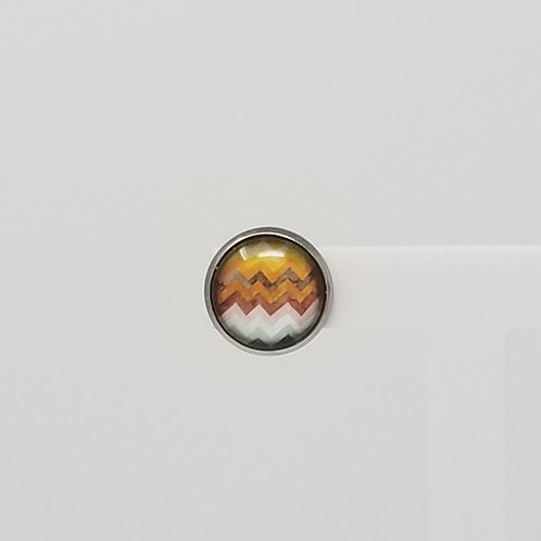 Fall Chevron 12mm Round Stud Earrings