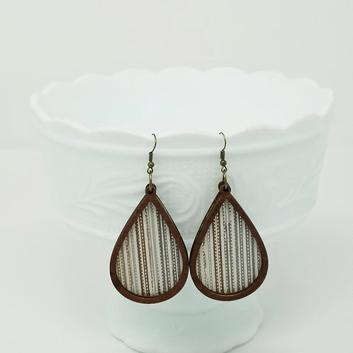 Fall Stripes Genuine Leather & Wood Earrings