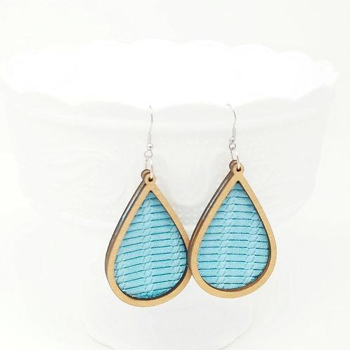 Cyan Turquoise Venetian Knot Genuine Leather & Wood Earrings