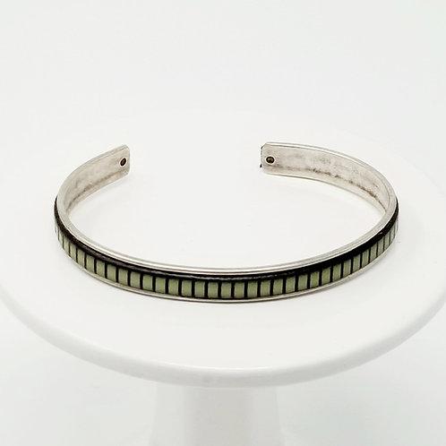 Green with Black Stripes Adjustable Leather & Metal Cuff Bracelet