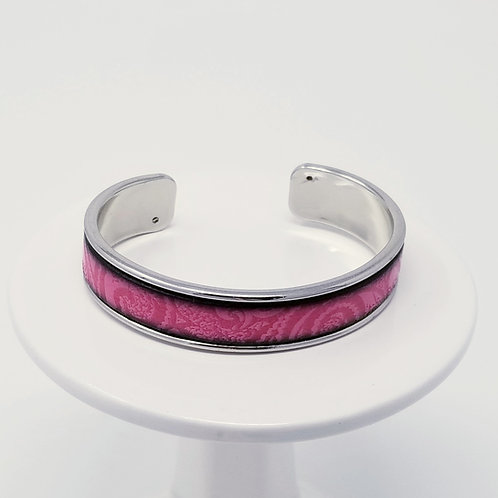 Fuchsia Embossed Firm Leather & Metal Cuff Bracelet