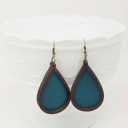 Deep Turquoise Genuine Leather & Wood Earrings