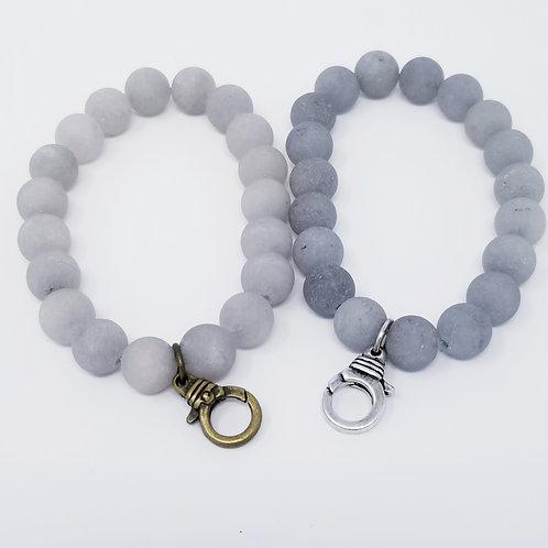 Grey Natural Stone Beaded Starter Bracelet