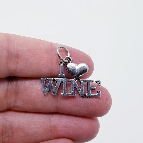 I Love Wine Silver Charm