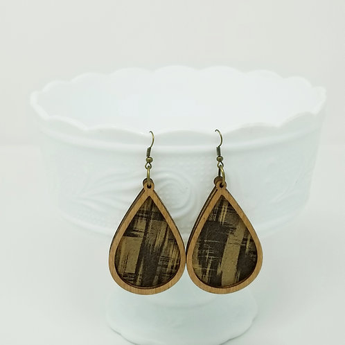 Cork Abstract Genuine Leather & Wood Earrings