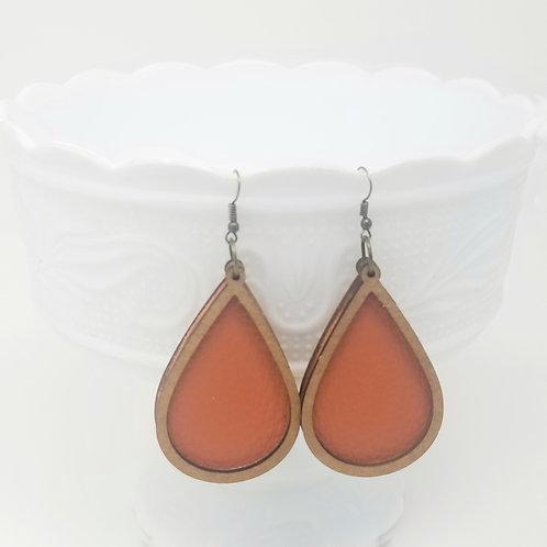 Persimmon Orange King Genuine Leather & Wood Earrings