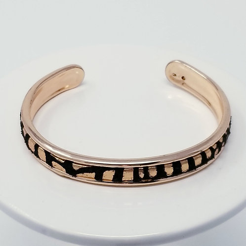 Black with Copper Metal Spots Firm Leather & Metal Cuff Bracelet
