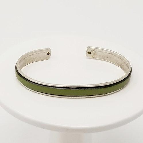Olive Green Adjustable Leather & Metal Cuff Bracelet