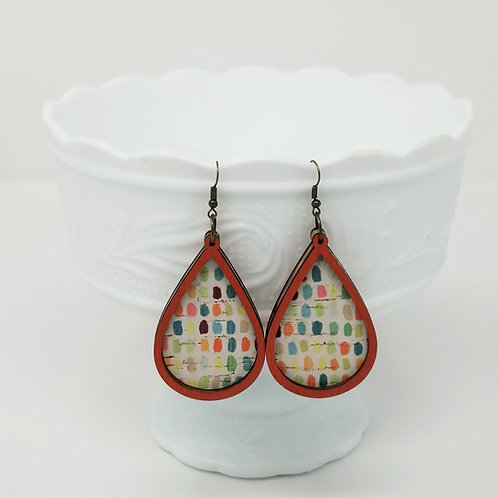 Colorful Paint Brush Dobs 1 Cork Leather & Wood Earrings