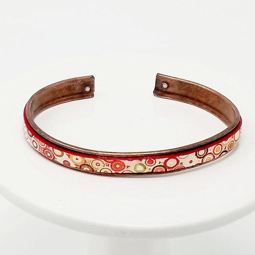 Fancy Print Adjustable Leather & Metal Cuff Bracelet