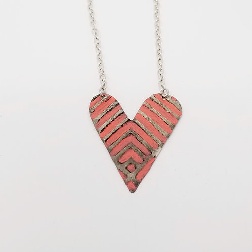 Medium Coral Heart Molten Solder Necklace 12