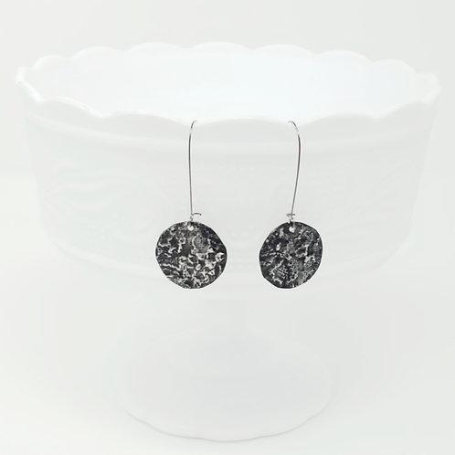 Long Circle 3 Molten Solder Earrings