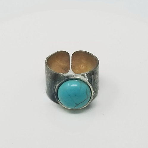 Turquoise Howlite Soldered Brass Ring