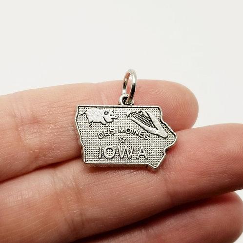 Iowa with Corm & Pig Silver Charm