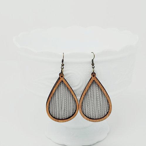 Grey Skies Palm Leaf 2 Genuine Leather & Wood Earrings
