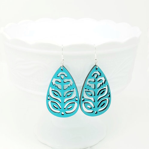 Teal Wood Earrings