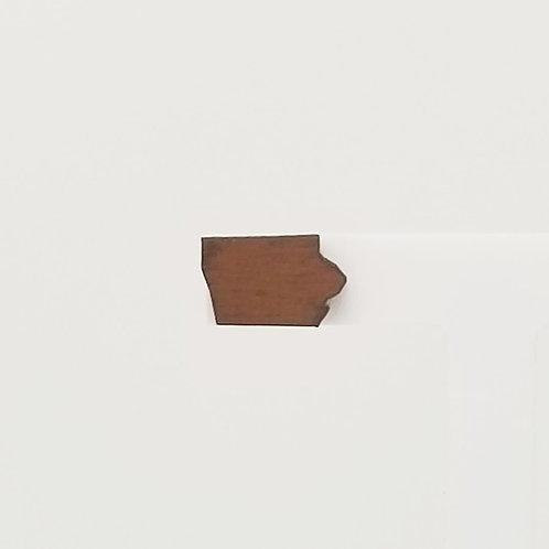 Dark Brown Iowa Wood Stud Earrings