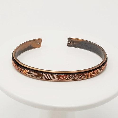 Red & Orange Flames Adjustable Leather & Metal Cuff Bracelet