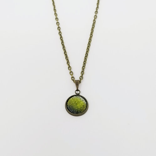 Faceted Lime Green Glitter in Antique Bronze Cabochon Pendant Necklace