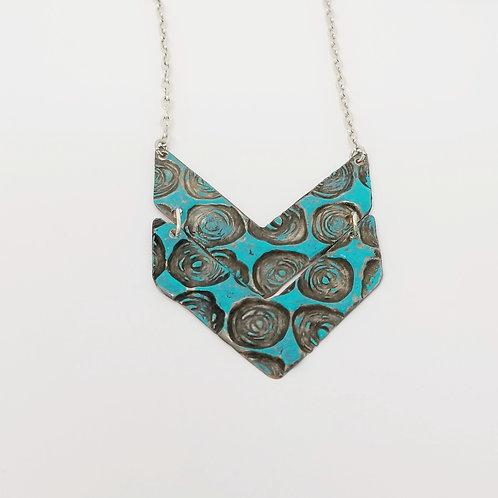 Long Turquoise Double Chevron Molten Solder Necklace 1