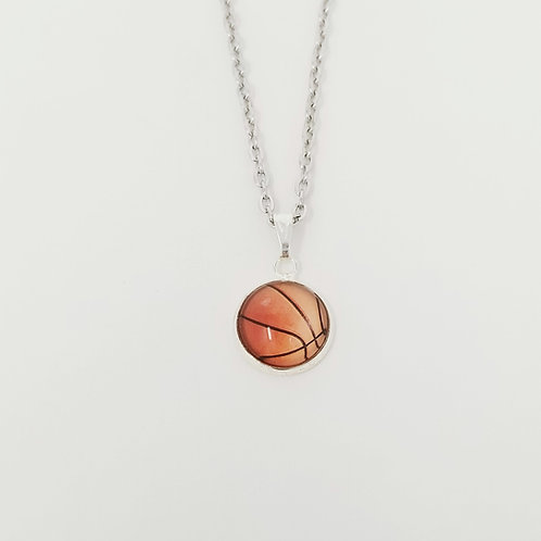 Basketball in Antique Silver Cabochon Pendant Necklace