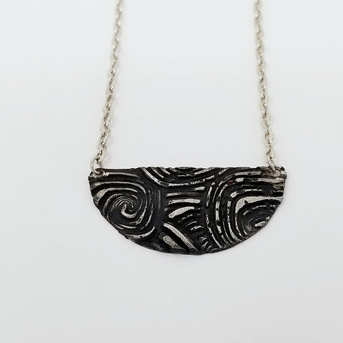 Short Black Half Moon Molten Solder Necklace 4