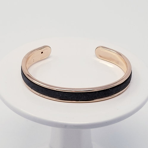 Charcoal Black Embossed Firm Leather & Metal Cuff Bracelet