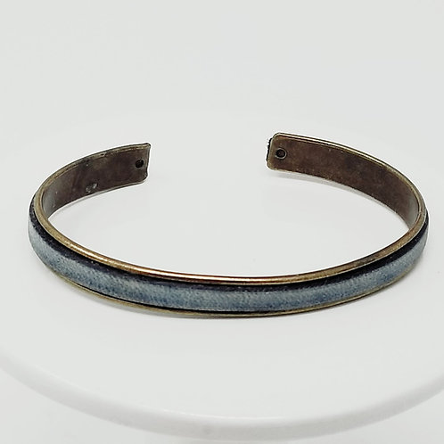 Blue Denim Adjustable Leather & Metal Cuff Bracelet