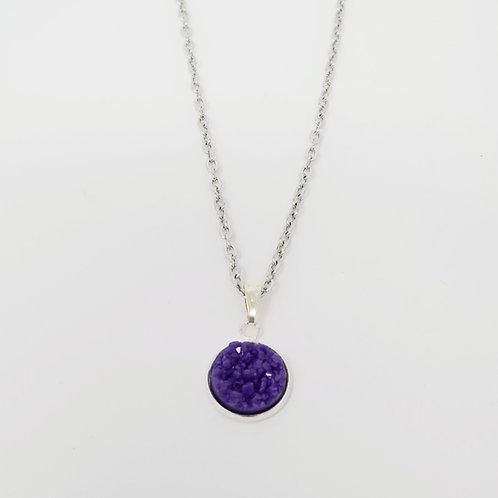 Purple Faux Druzy in Antique Silver Cabochon Pendant Necklace