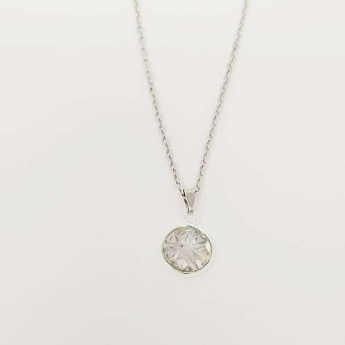 Clear Starburst in Antique Silver Cabochon Pendant Necklace