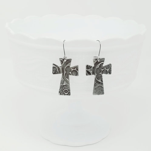Medium Large Cross 3 Molten Solder Earrings