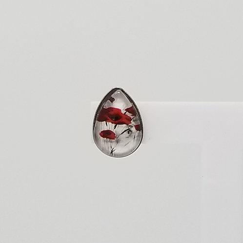 Field of Red Poppies 10x14mm Tear Drop Stud Earrings