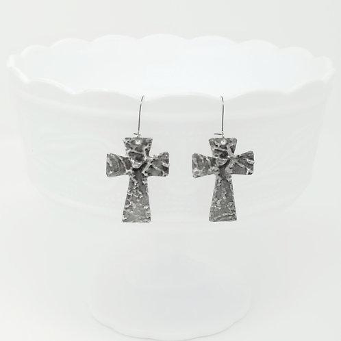 Medium Large Cross 2 Molten Solder Earrings