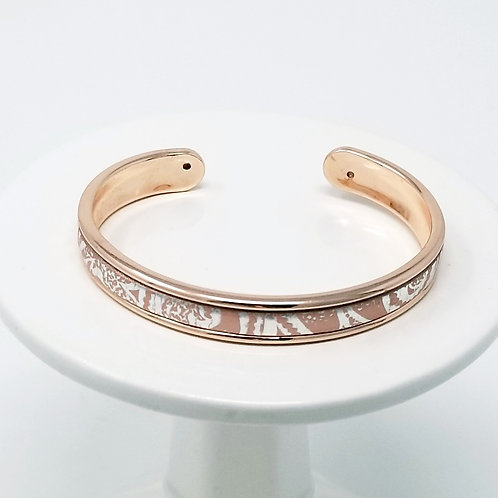 Pink & Silver Embossed Firm Leather & Metal Cuff Bracelet