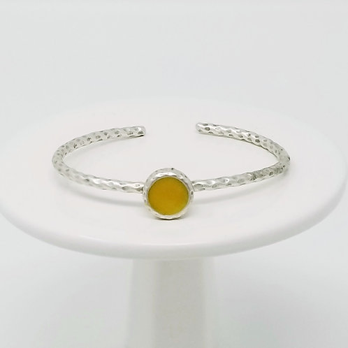 Ice Resin Mustard Cuff Bracelet