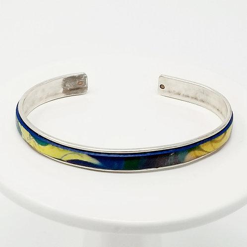 Vibrant Metallic Print Adjustable Leather & Metal Cuff Bracelet