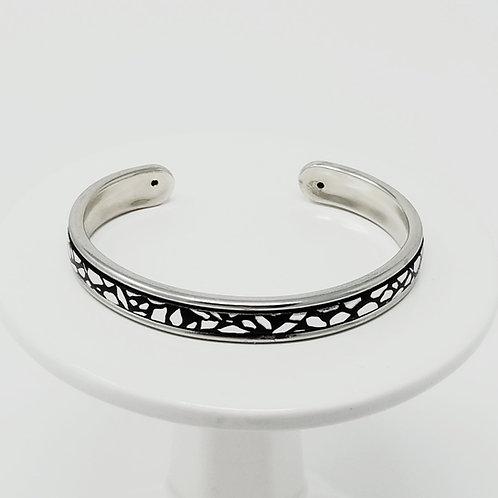 Black & Silver Giraffe Print Firm Leather & Metal Cuff Bracelet