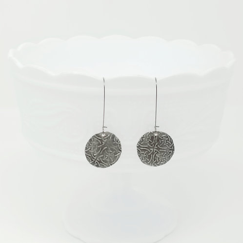Long Circle 7 Molten Solder Earrings