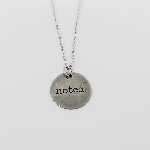 """Noted"" Word Pendant Necklace"