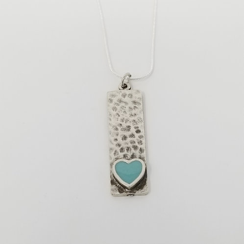 Short Pale Mint Blue Narrow Heart Ice Resin Necklace 7