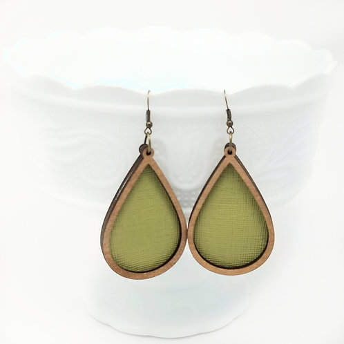 Pepper Stem Avocado Suffiano Genuine Leather & Wood Earrings