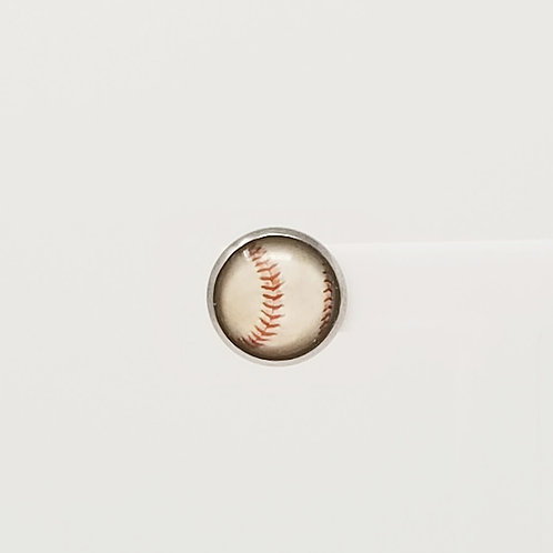 Cream Baseball 12mm Round Stud Earrings