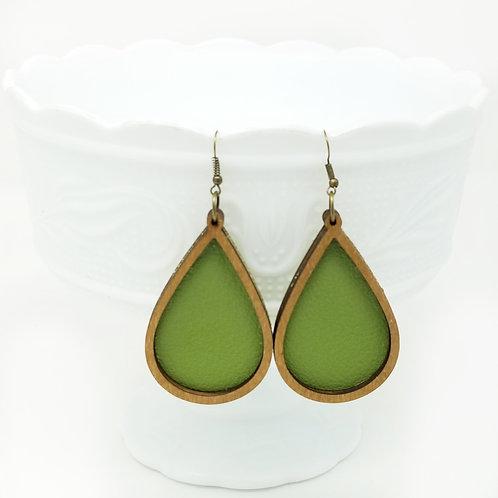 Avocado Green Divine Genuine Leather & Wood Earrings