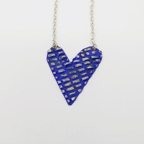 Medium Royal Blue Heart Molten Solder Necklace 19