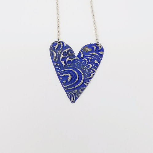 Long Royal Blue Heart Molten Solder Necklace 13