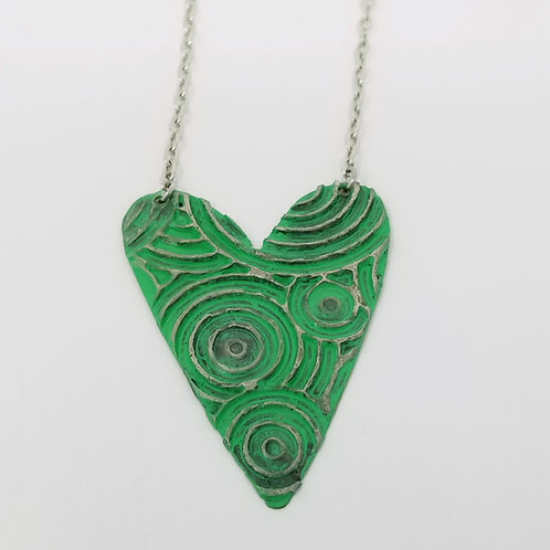 Long Green Heart Molten Solder Necklace 2