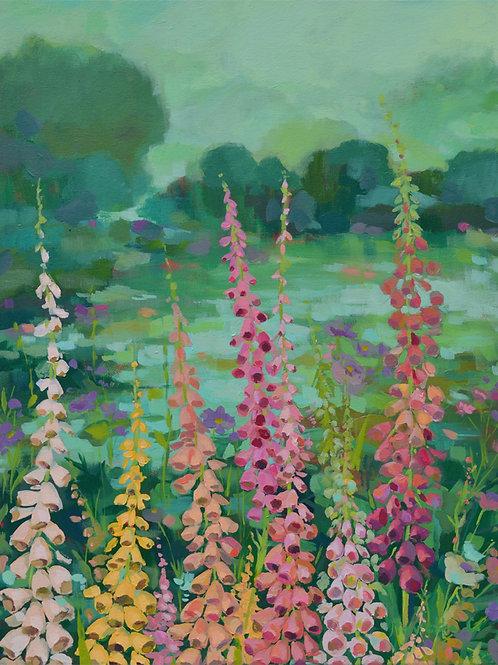 Flowers on lake