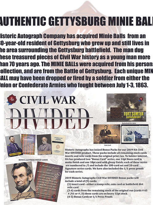 Civil War DIvided Bonus Pack & Battle of Gettysburg Minie Ball - Combo